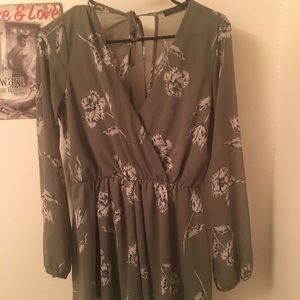 Floral Olive Green Romper Medium